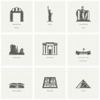 Neuf monuments dessinés à la main