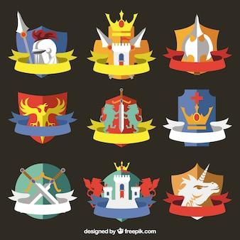 Neuf motifs d'emblème de chevalier coloré