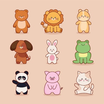 Neuf personnages d'animaux kawaii