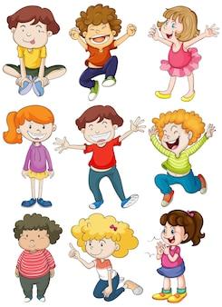 Neuf personnages d'enfants heureux