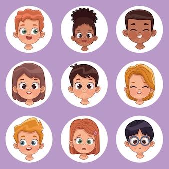 Neuf personnages pour enfants