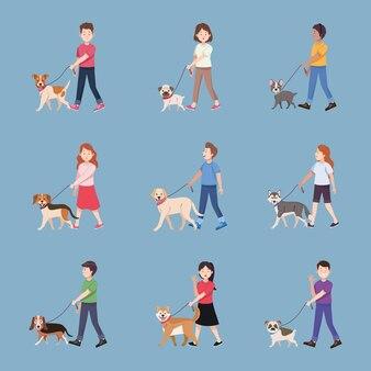 Neuf personnes avec des chiens