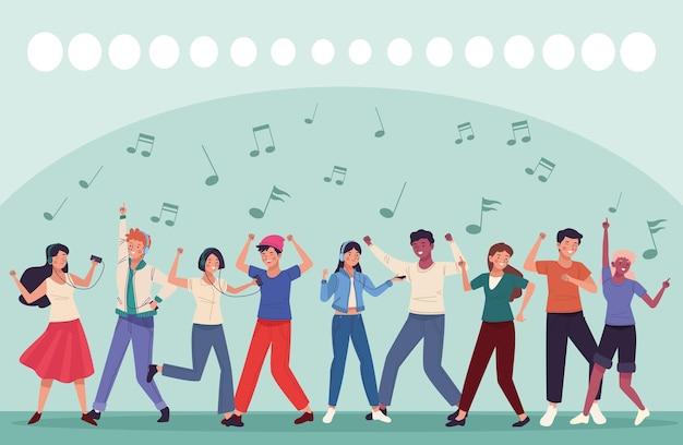Neuf personnes dansant