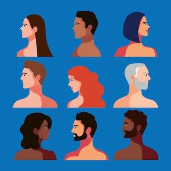 Neuf personnes interraciales