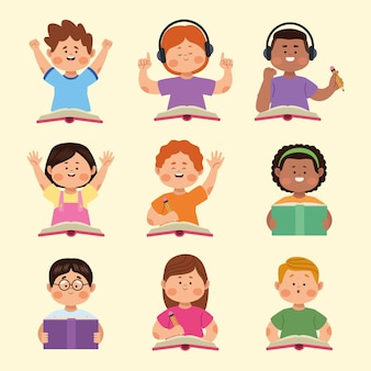 Neuf petits personnages étudiants