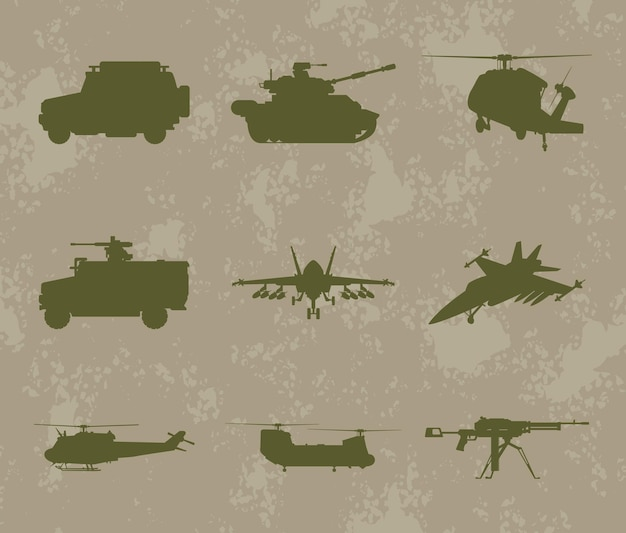 Neuf silhouettes d'armes militaires