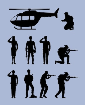 Neuf silhouettes d'escouade militaire