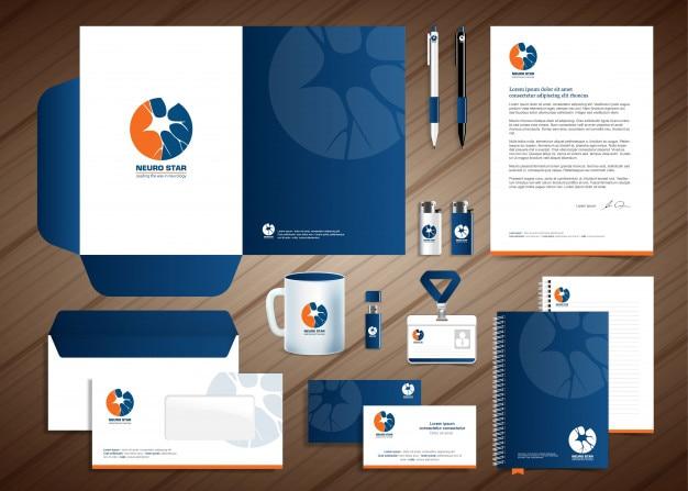 Neurology nerve logo, conception de modèle d'identité d'entreprise, stationery design