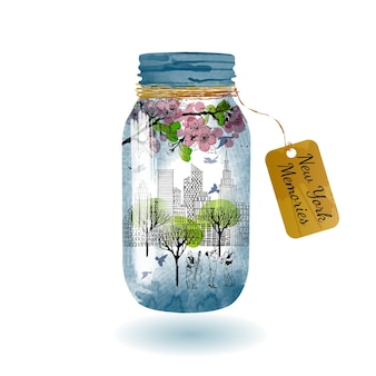 New york en bocal en verre. croquis et aquarelle