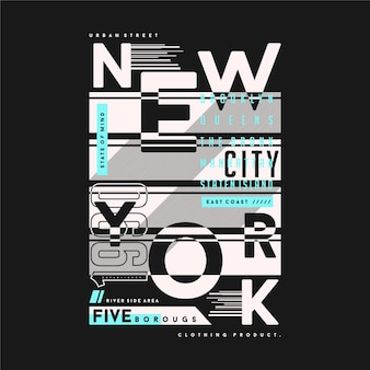 New york city résumé texte cadre typographie graphique t-shirt illustration pour le style de la jeune génération