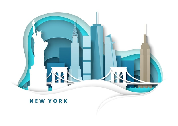 New york city skyline vector papier découpé illustration statue du pont de la liberté monuments de renommée mondiale ...