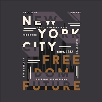 New york city, typographie de la liberté future pour t-shirt imprimé