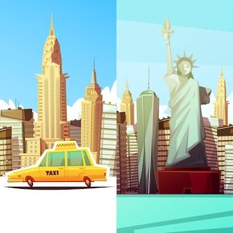 New york, deux, bannières, dans, style dessin animé, à, manhattan, monuments, skylines, jaune, taxi, voiture