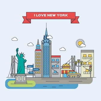 New york, illustration plat