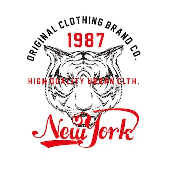 New york avec illustration de visage de tigre premium