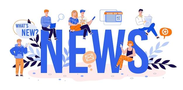 News big word et minuscules personnages publiant ou recherchant des nouvelles dans les médias sociaux et sur internet