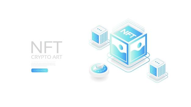 Nft isométrique avec technologie blockchain