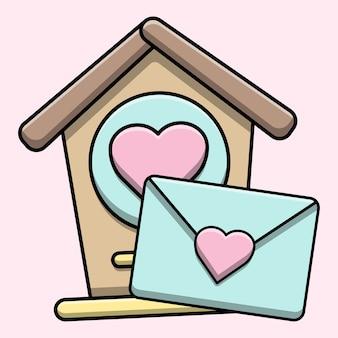 Nichoir mignon avec illustration de lettre d'amour