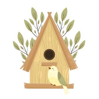 Nichoirs colorés, illustrations d'oiseaux et de nids mignons, dessinés à la main isolés
