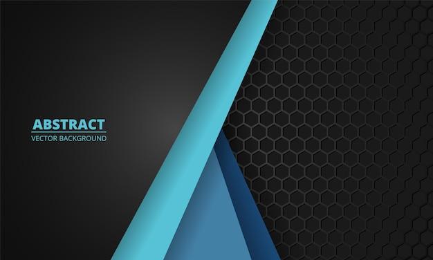 Nid d'abeille en fibre de carbone gris foncé avec des lignes bleues. résumé de la technologie moderne hexagone futuriste. illustration vectorielle eps10.