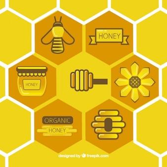 Nid d'abeille plat avec des éléments