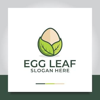 Nid de conception de logo d'œuf et de feuille naturellement ludique