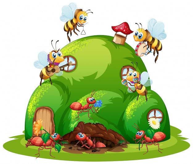 Nid de fourmis et style de dessin animé d'abeilles isolé sur blanc backgrounf
