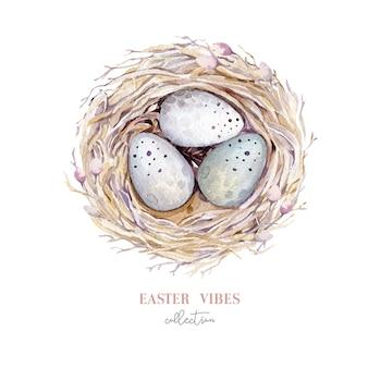 Nid d'oiseau aquarelle dessiné à la main avec des oeufs, conception de printemps de pâques