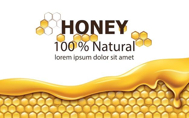 Nids d'abeilles recouverts de miel dégoulinant