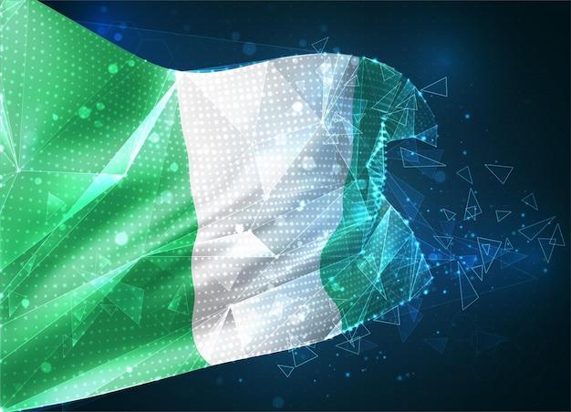 Nigéria, drapeau vectoriel, objet 3d abstrait virtuel à partir de polygones triangulaires sur fond bleu