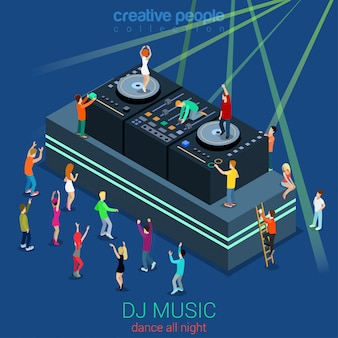 Night club dance dj booth party flat isometric concept people dancing in front of stage and on dee-jay equipment illustration.