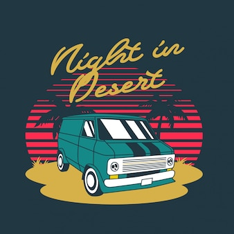 Night in desert van