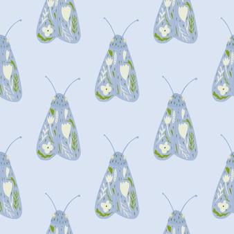 Night moth doodle modèle sans couture de silhouettes.