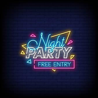 Night party style néon style texte