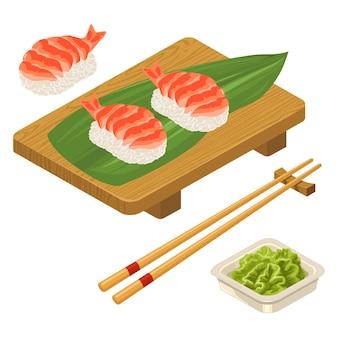 Nigiri sushi avec des baguettes de crevettes aux feuilles de wasabi dans un bol et une planche de bois icône de couleur plate de vecteur