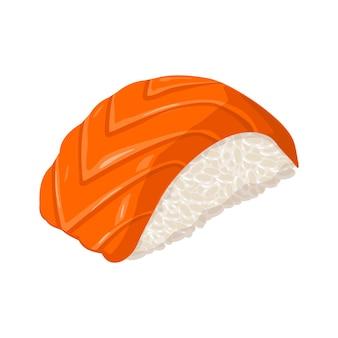 Nigiri sushi avec poisson isolé sur fond blanc vector illustration couleur plat pour l'icône