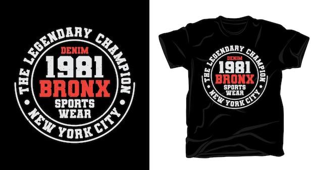 Nineteen quatre vingt un design de t-shirt de typographie bronx