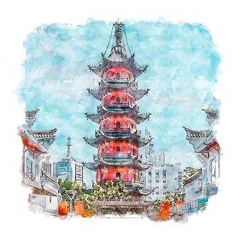 Ningbo chine aquarelle croquis illustration dessinée à la main