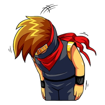 Ninja boy s'excuse et désolé.