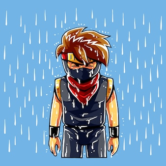 Ninja boy sadness in tears.