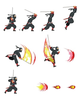 Ninja cartoon game animation sprite