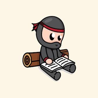 Ninja chibi mignon lisant une illustration de dessin animé de livre