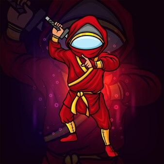 Le ninja avec la conception de logo esport de casque d'astronaute d'illustration