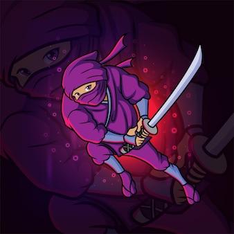 Le ninja cool avec la conception du logo katana esport d'illustration