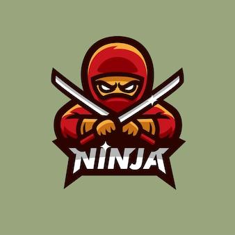 Ninja croix katana épée esports logo illustration vectorielle mascotte