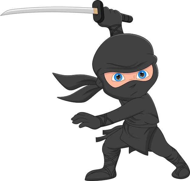 Ninja de dessin animé posant et tenant une épée