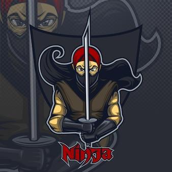 Ninja avec katana sur fond sombre, équipe esport logo.