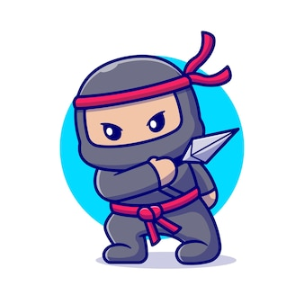 Ninja mignon avec dessin animé de kunai. style de bande dessinée plat