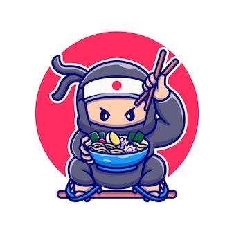Ninja mignon mangeant ramen cartoon vector illustration. concept de nourriture de personnes vecteur isolé. style de bande dessinée plat