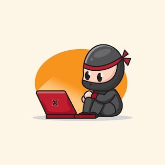 Ninja mignon regardant une illustration de dessin animé d'ordinateur portable